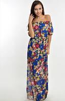 Платье Летнее шифоновое элегантное открытые плечи цвет синий с розами