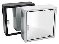 Шкафчик металлический с зеркалом квадратный в ванную