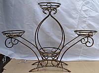 Кованная подставка для цветов на 4 вазона (тюльпан)