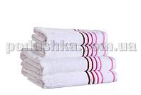 Полотенце махровое SPRING белый/малиновый 50х90 см