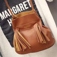 Маленькая женская сумка Мешок с бахромой рыжая