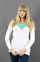 Махеровый белый свитер со вставкой, фото 1
