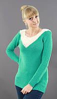 Шерстяной свитер насыщенного мятного цвета