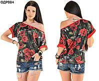 Женская блуза с розами 42-46