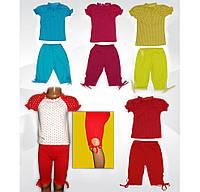 Комплект  для девочки, блузка и бриджи, 100 % хлопок, кулир. р.р.26-34.