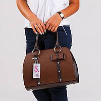 Коричневая овальная сумка женская дамская с бантиком