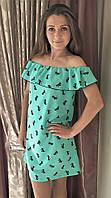 Женское летнее платье с волнами салатовое