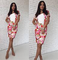 Женский костюм юбка + пиджак  стрейч джинс в цветы размер С-М
