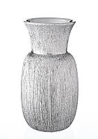 Ваза керамическая глянцевая высокая с серебряным декором.