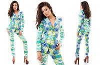 Женский костюм брюки и пиджак коттон цветной с принтом цветов Размеры с м л