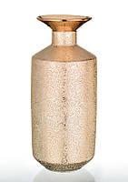 Ваза керамическая глянцевая высокая с золотым декором.