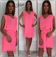 Платье яркое летнее мини шифоновое с поясом разные цвета MIL343