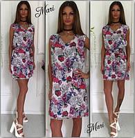 Платье яркое летнее короткое шифоновое с поясом в цветочный принт MIL344