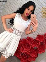 Женское платье белое с кружевами 44-46