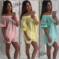 Костюм женский летний блузка и короткие шорты из хлопка разные цвета MIL76