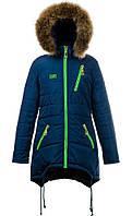 Зимняя теплая удлиненная куртка,мех-енот для девочек-подростков,размеры 40-46 S440
