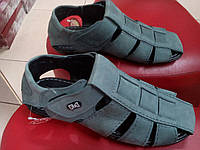 Мужские летние сандалии кожа  MIDA нубук джинс.
