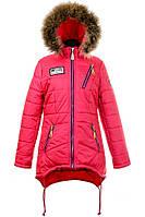 Зимняя теплая удлиненная куртка,мех-енот для девочек-подростков,размеры 40-46 S441
