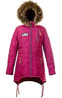 Зимняя теплая удлиненная куртка,мех-енот для девочек-подростков,размеры 40-46 S442