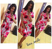 """Платье яркое летнее короткое свободного кроя """"Розовые цветы"""" разные цвета MIL349"""