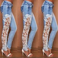 Эксклюзивные женские джинсы с вставкой ажура