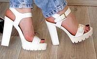 Босоножки белые на толстом высоком каблуке, р 37-40