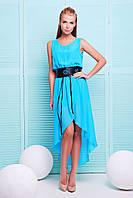Шифоновое женское платье голубого цвета с поясом
