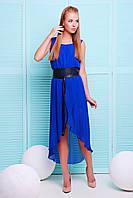 Летнее платье из шифона синего цвета