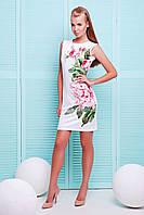 Белое короткое платье на лето в цветы