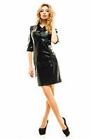 Женское модное платье с вставками экокожи
