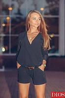 Женский черный комбинезон с шортами ОР 04-n