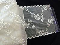 Кружево гипюр стрейч широкое цвет белое 17 см N313