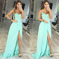 Платье сарафан Молодёжный макси натуральная батистовая прошва цвет ментол