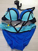 Купальник раздельный стиль Victorias Secret с чашкой голубой с синим с черными полосками M