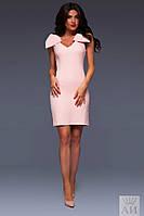 Женское платье из крепа на плечах с бантами без рукавов