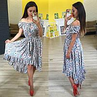 """Женское асимметричное летнее платье с цветочным принтом """"Ивона"""""""