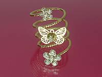 """Кольцо """"Бабочка и цветы"""" с золотистым покрытием и стразами."""