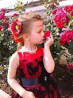 Детское праздничное платье красное с черным гипюром