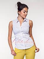 Блузка американка светло-серая в горошек