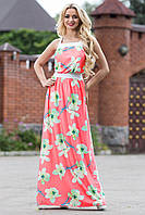 Нежное Элегантное Платье Сарафан в Пол Коралловое р. S-3XL