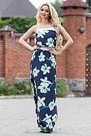 Нежное Элегантное Платье Сарафан в Пол Темно Синее с Бирюзовым Цветочным Принтом р. S-3XL