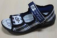 Тапочки босоножки клетка на мальчика, польская текстильная обувь тм 3F р. 23