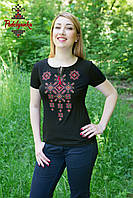 Жіноча вишита футболка Писанка  бордова
