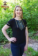 Жіноча вишита футболка Традиційна синьо-жовта