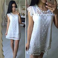 Женское красивое белое платье из гипюра