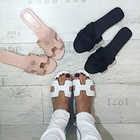 Женские модные кожаные тапочки в расцветках