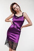 Ю829 Платье атласное с кружевом в расцветках