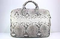 Сумка-портфель из кожи питона натурального цвета