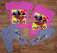"""Летний спортивный комплект для девочек """"Adidas"""" с бриджами, рост от 86 до 116 см"""