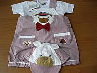 Детский песочник + футболочка + шапочка  Мишка моряк 62-74см Турция